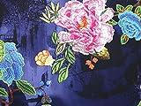 Bestickte Blumen Digital Print Mikrofaser Kleid Stoff, Marineblau, Meterware