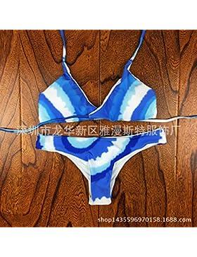Conjuntos de Bikini Sexy traje de baño Trajes de Baño Digital de adelgazamiento Blue-Tiled bañador conservadora...