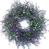 45cm Groß Lila Künstlicher Lavendel Wiese Blumenkranz Dekokranz Türkranz Tischkranz Lavendelkranz
