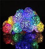 ✽ZEZKT-Home✽ 20 Rattan Ball Lichterkette String Lights Batteriebetrieben Neujahr Weihnachts Dekoration Hochzeit Party Weihnachten Hochzeit Home Dekoration Lichter (Mehrfarbig)