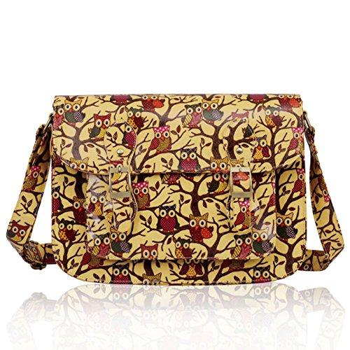 """33,02 cm (13"""") Xardi School College London Girl da donna, con tracolla, motivo: gufo, in borsa a tracolla da donna Beige (beige)"""