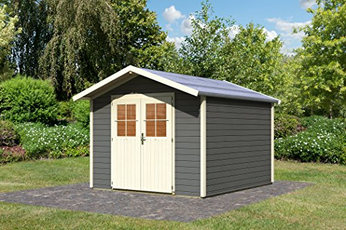 Karibu Gartenhaus Obernhagen 3 terragrau 28 mm