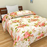 Handicraftworld Beautifully Design & Pink Rose Printed Micro Cotton Reversible A/C Double Bed Blanket/Dohar/Quilt (Multicolour) (Pink Red)