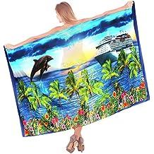señoras ligero traje de baño de la gasa de sol vista a la playa envoltura de crucero vestido pareo azul marino