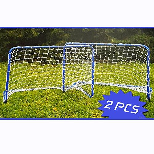 Preisvergleich Produktbild 2er SET Metall Fußballtore Fußball Mini Garten Soccer Tor Tore Goal 78x56x45cm