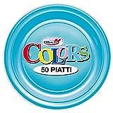 H&H 1789 Styl Frutta Turchese Confezione Piatti, Azzurro, 50 Unità