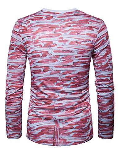 YCHENG Männer Anzug Mode 3D Druck Muster Slim Fit Langarm Rundhalsausschnitt T-Shirt Tops 1102L-H