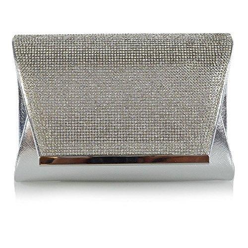 ESSEX GLAM Donna Diamante Nuziale Sintetico Partito Borsa a Frizione Argento metallizzato