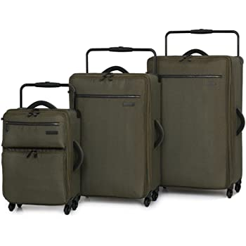 IT Luggage World's Lightest Set of 3 Expandable 3 Tone Beech Four Wheel Spinner Suitcase