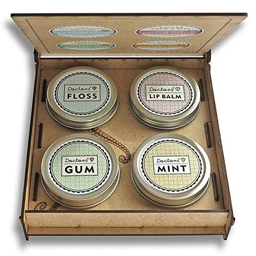 SMILE-UPGRADE, Geschenk Idee, 4 Dosen in Box, Lippenpflege, Pfefferminz Bonbons, Kaugummis, Zahnseide, Frauen, handmade (Mint Balm Stick Lip)