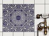 Fliesen-Folie Sticker Aufkleber selbstklebend | Fliesendekoration Dekorationssticker Badezimmer renovieren Küche Wall Art | 15x20 cm Design Motiv Blue Mandala - 6 Stück