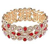 EVER FAITH-Bracciale Donna di cristallo austriaco Nodo elegante di cerimonia goccia elastico di stirata del braccialetto rosso oro-fondo