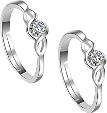 Om Jewells Rhodium Plated Adjustable Curvy Solitaire Toe Ring Made with Cz Stone for Women TR10001007