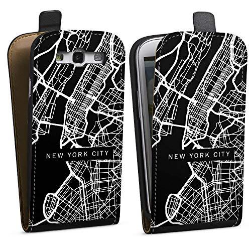 DeinDesign Tasche kompatibel mit Samsung Galaxy S3 Flip Case Hülle New York City Karte Stadt -