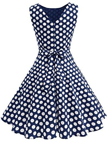 Wedtrend 50s Retro Vintage Dot Einfarbig Rockabilly Ärmellos Kleid Faltenrock Marine Dot
