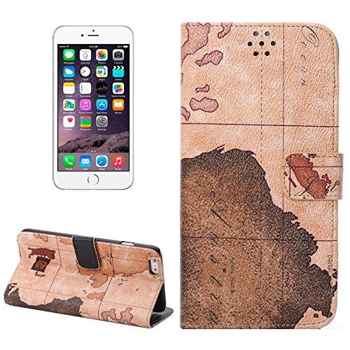 Wkae Case Cover weltkarte muster lederetui mit - inhaber und card slots für das iphone 6 plus &65 plus einer lieferung ( Color : Brown ) braun