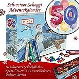 50. Geburtstag | Advent Kalender dunkle Schokolade | Weihnachtskalender Damen Weihnachtskalender Schweizer Schoggi Weihnachtskalender Frauen Weihnachtskalender für Männer Weihnachtskalender für Frauen