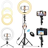 "QI-EU 12"" inch Selfie Ring Light with Tripod Stand & Cell Phone Holder for Live Stream/Makeup, Dimmable Led Camera…"