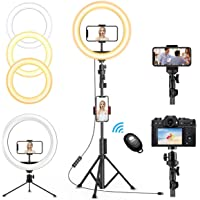 """QI-EU 12"""" inch Selfie Ring Light with Tripod Stand & Cell Phone Holder for Live Stream/Makeup, Dimmable Led Camera…"""