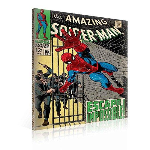 TapetoKids Leinwandbild Marvel Spiderman Retro Comic Book Cover - XXL - 100 x 75 cm - Komplettpaket! - fertig gerahmt und inklusive Aufhängung - hochwertige 230g/m² Leinwand auf Keilrahmen - kinderleichte Anbringung