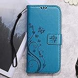 Butterfly Flower Imprinted Wallet Leather Tasche Hüllen Schutzhülle Accesory für Meizu m3 - Blue