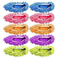 Idea Regalo - 10 pz 5 paia Duster Mop Pantofole Scarpe Copertura, Multi Funzione Ciniglia Fibra Lavabile Piano Pulizia Scarpe per Bagno Ufficio Cucina Casa Lucidatura Pulizia, Gspirit (5)