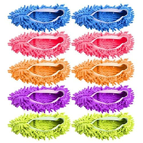 10 pz 5 paia duster mop pantofole scarpe copertura, multi funzione ciniglia fibra lavabile piano pulizia scarpe per bagno ufficio cucina casa lucidatura pulizia, gspirit (5)