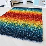 Teppich Shaggy Hochflor in 5 verschiedenen Größen. Langflor Kuschelteppich farbig bunt mit Öko-Tex für Jugend- und Kinderzimmer (80 x 150 cm)