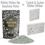 My Glitter Wall Glitzer in Silber (150g) für Emulsion mit Schalter- und Steckdose-Aufkleber, glitzernde Wanddekorationen, perfekt für Innen und Außen als Set