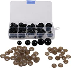 Segolike 52 Pieces 12-20mm 5 Sizes Solid Black Plastic Safety Eyes for Teddy Bears Soft Animal Toys Kids Craft