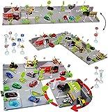 """XL Komplettset: 3-D Spielmatte Straße - """" Stadt mit Kreisverkehr & Brücke - 4 Teile """" - incl. Name - UMBAUBAR - 1/64 - Spielwelt + Zubehör - Feuerwehrstation & Tankstelle & Baustelle - Verkehrszeichen - Waschstraße - Autogarage - Parkgarage - zum Spielen + Bauen aus Plastik / Kunststoff - für Auto / Fahrzeuge - Kinder - Spielset - Spielzeug / Spielmatte - Hebebühne - Autowerkstatt - Spielzeugwelt 1:64 - Tunnel - Spielteppich Kinderteppich - Straßen"""