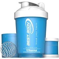 Best Body Nutrition Eiweiß Shaker - US Bottle - Blau/Weiß - Protein Shaker - BPA frei - 600ml