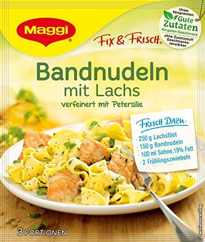 Maggi fix & frisch, Bandnudeln mit Lachs, 40 g Beutel, ergibt 3 Portionen