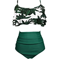AOQUSSQOA Femme Vintage Taille Haute Volants Maillot de Bain Mignon Bikini 2 Pièces