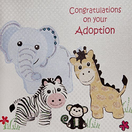 """White Cotton Cards """"Congratulations on your Adoption"""" Karte, handgefertigt, Weiß"""