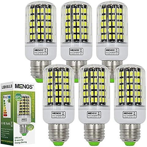 6pz MENGS® Lampada LED 15W E27 108x 5733 SMD LEDs (Bianco freddo 6500K, 360 angolo, 1080lm, AC 220-240V, 40 x 102mm) Lampadine a risparmio energetico con il corpo del PC - 7000 Corpo