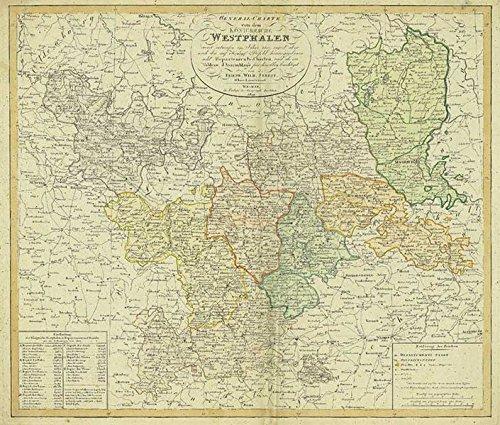 Hist. Karte: General-Charte von Napoleons Königreich Westphalen 1809: Zuerst entworfen im Jahr 1807, anjetzt aber nach dem auf Königlichen Befehl herausgegebenen acht Departments-Charten