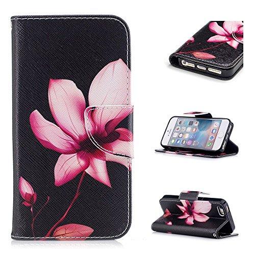 Custodia per iPhone SE / iPhone 5S / iPhone 5, Hancda Modello Elegante Disegni Cover Funzione Stand Custodia in Pelle Portafoglio di Cuoio Libro Sottile Flip Case Protettiva Chiusura Magnetica Antiurt Fiore loto