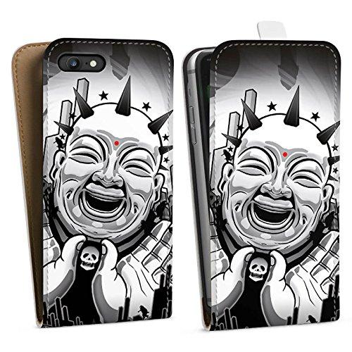 Apple iPhone X Silikon Hülle Case Schutzhülle Buddha Schwarz Weiß Kunst Downflip Tasche weiß