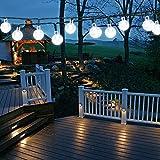Samoleus 6M 30 LEDS Solar Lichterkette, Beleuchtung Kugel Aussen Weiß, Außenlichterkette Christmas Lights Wasserdicht für Party, Weihnachten, Außen, Hausdekoration (Weiß)