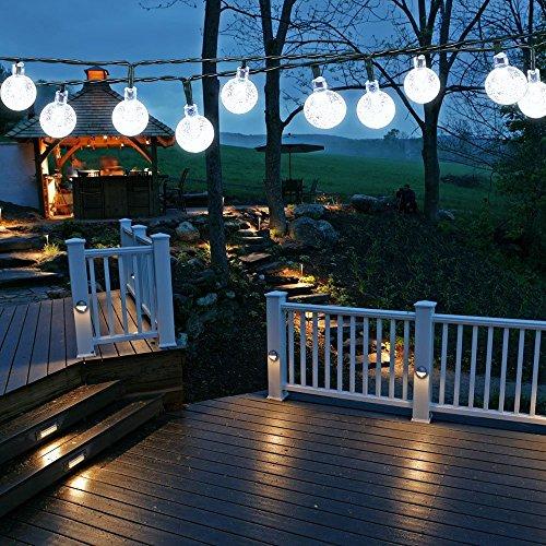 Samoleus Catene Luminose Solare 6M 30 LEDs, Stringa di Luci da Esterno Illuminazione Decorativa Luci Natale LED (Bianco-N)