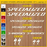 Pimastickerslab Aufkleber Fahrrad Specialized S-Works - Kit 2 - Kit Aufkleber Stickers 12 Stück – bici Bike Cycle Wählbar Cod.0956 (010 Bianco)