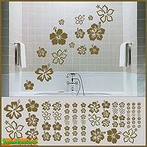Hibiscus de 70 sticker mural doré métallisé) idéal pour le mix 15–4 cm stickers autocollants pour vélo «hibiscus autotattoo bike fahrradaufkleber autocollants tatouages autocollants pour le mélange de fleurs fleur blümchenBlumen fleur