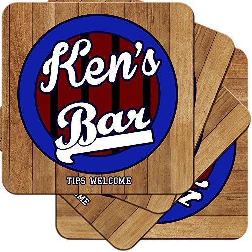 Ken 's Bar-Sport Bar Stil personalisierbar aus Hartfaserplatte Untersetzer Geschenk-Set (4Pack) - Ken-bar
