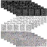 90 Feuilles Stickers Ongles Fleurs,Mwoot Blanc Noir Coloré Fleurs 3D Auto-adhésif Nail Art Sticker Décalcomanies Set pour Femmes Filles Manucure Décoration d'Ongles