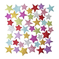100 Glitter Stars Foam Stickers - Self Adhesive - Assorted Sizes And Colours - Craft Decorating Cards And Models
