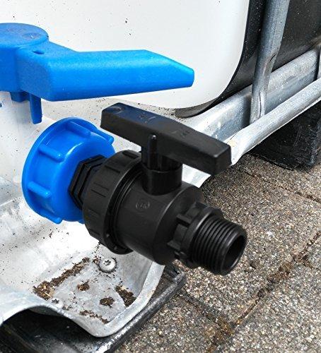 CMTech GmbH Montage Technik cms601 3594 a Bec pour Boules de Robinet en Plastique avec Filetage extérieur pour conteneur IBC, Accessoire pour Réservoir D'eau de Pluie Adaptateur de raccord de bidon