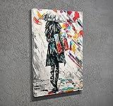 LaModaHome Deko Leinwand Art Wand (30,5x 40,6cm) Holz Dick Rahmen Gemälde Zeichnung Frau Regenschirm Bunt Regen Road Multi Varianten in Store.