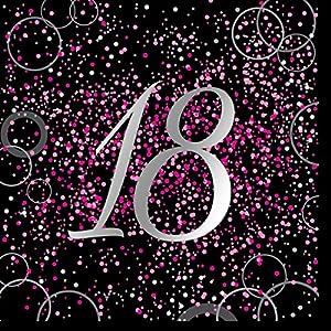 Unique Party- Paquete de 16 servilletas de papel de 18 cumpleaños, Color rosa metálico brillante (57478)