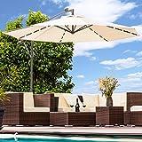 Swing & Harmonie Luxus Sonnenschirm mit LED Beleuchtung Ampelschirm 300 cm Solar Garten Schirm Pavillon (Creme)